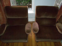 Brown velour / velvet armchair with removable armrests X2