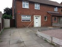 2-bedroomed semi detached house. Mountbatten Road, Bentley, Walsall WS2 0HN.