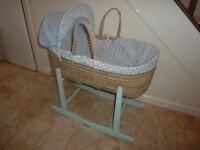 CLAIR DE LUNE BABY MOSES BASKET & SAFETY MATTRESS (RRP £99.99)