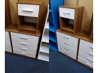 NEW Walnut Effect and White Chest of 4 Drawers, NEW matching 1 Drawer Bedside