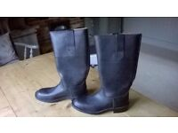 Vintage mens black leather work/motorcycle boots