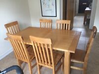 Oak Table Dinning Table and Chairs