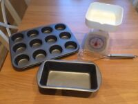 Baking tins, weighing scale and whisk