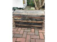 Large brown treasure chest, toy box, storage crate