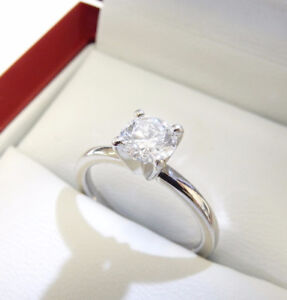 0.75ct Solitaire Diamond Ring 18k White Gold