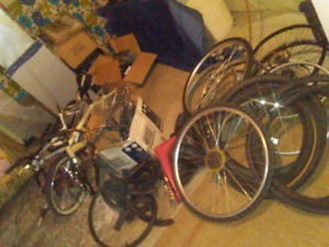 Different bikes parts and frames