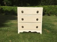Hand painted vintage small chest of drawers