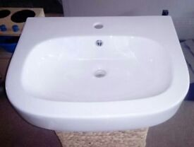 White sink and pedestal