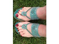 Sparkly turquoise indian style wedge-heel espadrille style sandals, size 5