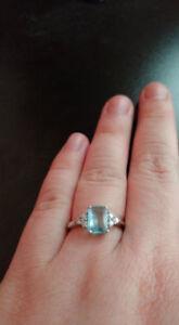 Sterling Silver Blue Topaz Ring/Vintage Ring