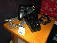 Xbox 360 controller with venom charging dock, battery pack and wires