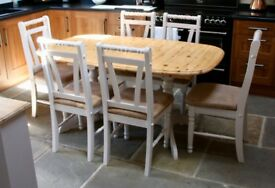 Extending pine table and 6 chairs