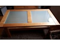 LARGE SOLID LIGHT OAK AND GLASS COFFEE TABLE