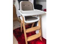 Oxo tot sprout high chair in good condition - taupe/birch