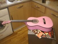 Elevation W-560-PNK 6 String 3/4 Size Pink Acoustic Guitar & 2 Tuition Books Excellent Condition