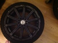 10 spoke multifit alloy wheels 225/40zr18 need refurbishing curbed 1 wheel primed to be painted