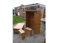 Two Solid Oak freestanding wardrobes with draws under