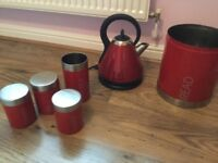 Red kitchen Set including Russell Hobbs kettle