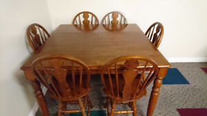 Solid Hardwood Pub Table w/ 6 chairs