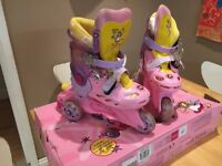 """Girls """"fairy girl"""" pink roller boots adjustable size 9-11"""