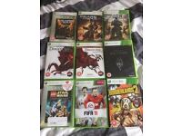 xbox 360, games and 2 controllers