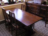 Solid dark oak dining table