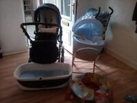 Baby boys Moses basket, Bouncey chair and support seat