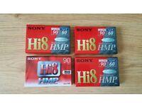 4 unopened hi8 video cassette tapes