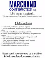 Construction Office Receptionist