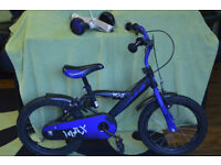 boy's Max bike 16' +Stabilisers + helmet
