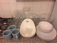 Kitchenwares. Plates/bowls/cutlery/pots/pan/utensils/small appliances
