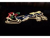 Santa sleigh and reindeer Christmas Decoration