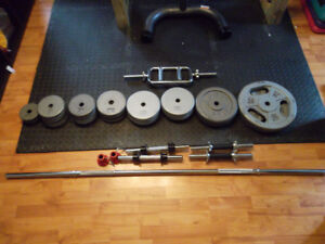 300bs of metal weights + bars and dumbell handles