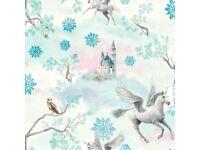 ARTHOUSE FAIRYTALE SNOWFLAKE PRINCESS CHILDRENS GLITTER WALLPAPER ICE BLUE