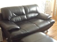 Designer Black soft leather SOFA and FOOT Stool