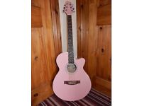 Pink Copeland semi-acoustic guitar with accessories