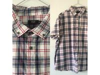 Men's F&F Short Sleeve Checked Shirt White Red Navy Blue Size 3XL