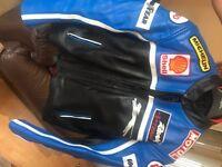 Motorbike leather jacket with all padding