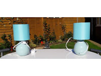 2 BLUE 10 INCH TABLE LAMPS AS NEW