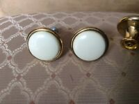 3 used cream and gold coloured knobs kitchen, wardrobe or furniture.
