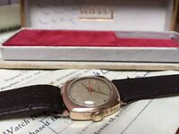 Rare vintage 9ct 9k solid gold mens cushion watch with box and papers!