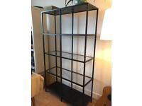 Ikea black shelving unit with glass shelves excellent condition