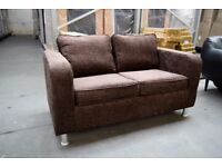 Classic Chocolate Brown Soft Fabric 2-Seat Sofa Upholstered Velvet Settee