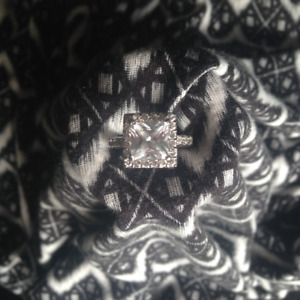 Size 7.5 Silver & Cubic Zirconia Ring