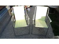2 folding garden camping beach hut chairs