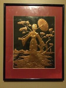 Copper Tooled Art - Geisha Girl
