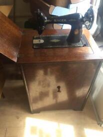 Singer Sewing Machine in Cabinet Vintage Retro Antique