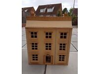 Girls Wooden DOLLHOUSE unpainted with mini furniture