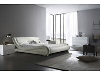 White leather king size bed for sale