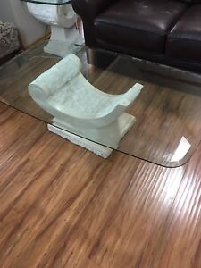 Glass top coffee table set